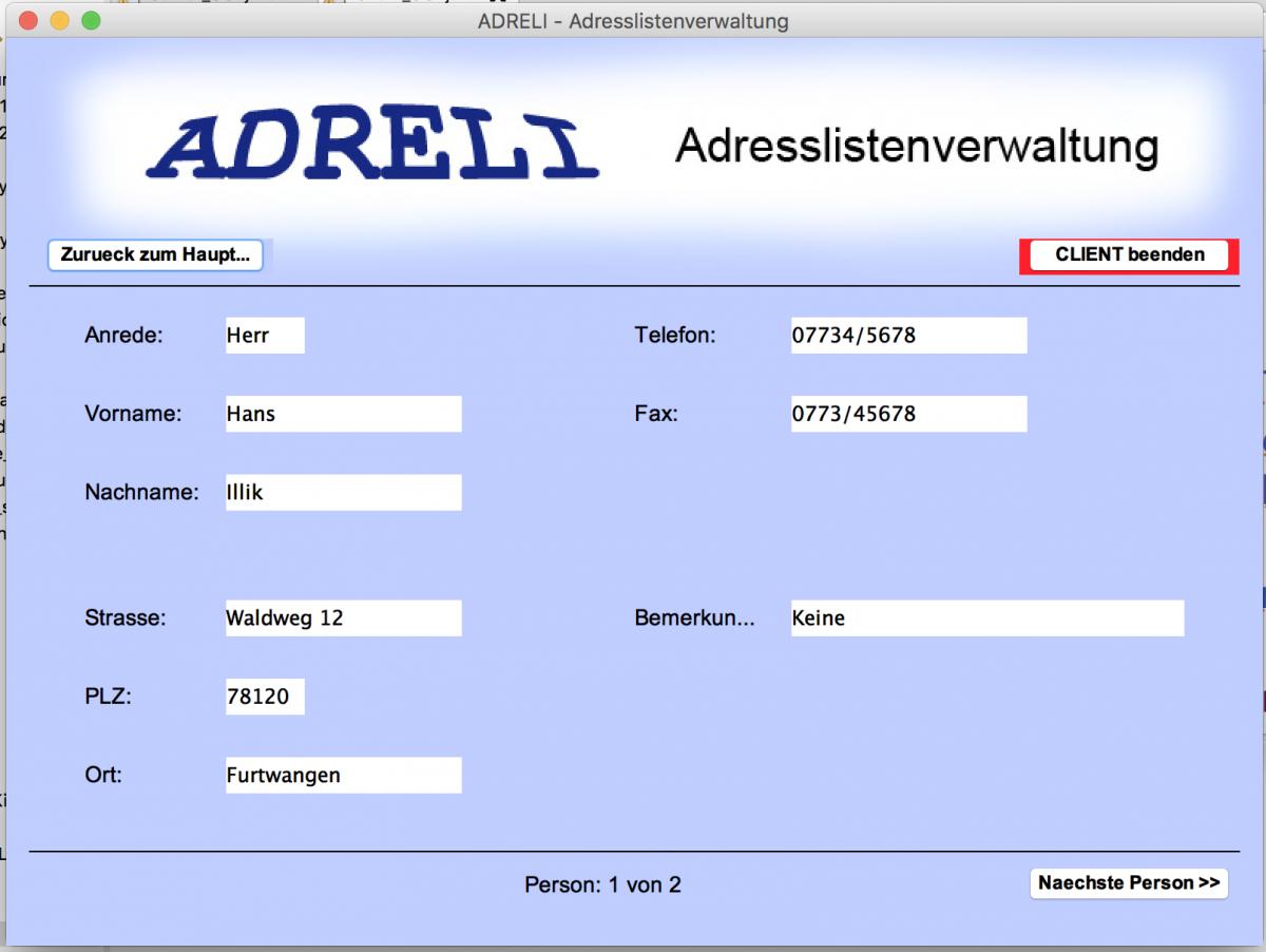 Programmieren 2: Lösung ADRELI_4_GUI geleakt?